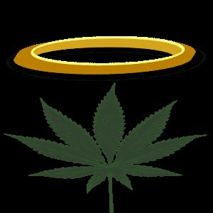 Cannabis Blatt mit Heiligenschein